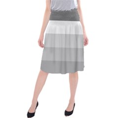 Elegant Shades Of Gray Stripes Pattern Striped Midi Beach Skirt