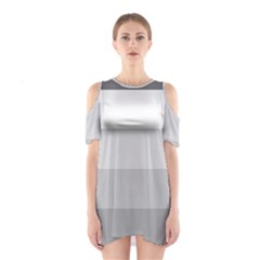 Elegant Shades Of Gray Stripes Pattern Striped Shoulder Cutout One Piece
