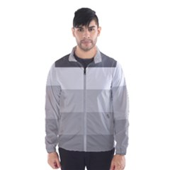 Elegant Shades Of Gray Stripes Pattern Striped Wind Breaker (men)