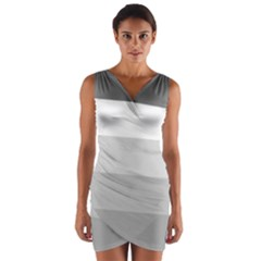 Elegant Shades Of Gray Stripes Pattern Striped Wrap Front Bodycon Dress