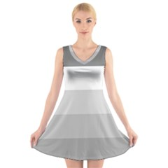 Elegant Shades Of Gray Stripes Pattern Striped V Neck Sleeveless Dress