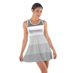 Elegant Shades Of Gray Stripes Pattern Striped Cotton Racerback Dress