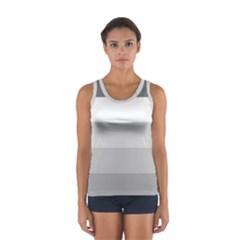 Elegant Shades Of Gray Stripes Pattern Striped Sport Tank Top