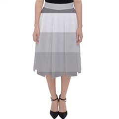 Elegant Shades Of Gray Stripes Pattern Striped Folding Skater Skirt