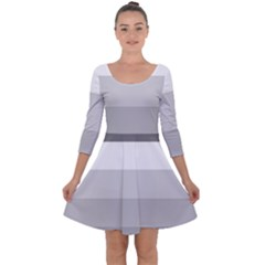 Elegant Shades Of Gray Stripes Pattern Striped Quarter Sleeve Skater Dress