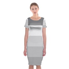 Elegant Shades Of Gray Stripes Pattern Striped Classic Short Sleeve Midi Dress