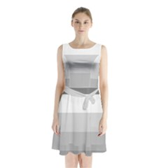 Elegant Shades Of Gray Stripes Pattern Striped Sleeveless Waist Tie Chiffon Dress