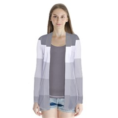 Elegant Shades Of Gray Stripes Pattern Striped Drape Collar Cardigan