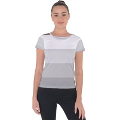 Elegant Shades Of Gray Stripes Pattern Striped Short Sleeve Sports Top