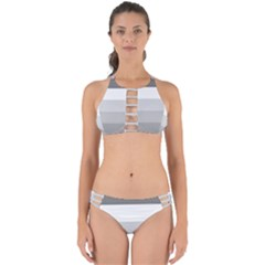 Elegant Shades Of Gray Stripes Pattern Striped Perfectly Cut Out Bikini Set