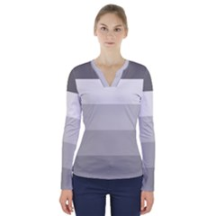 Elegant Shades Of Gray Stripes Pattern Striped V Neck Long Sleeve Top