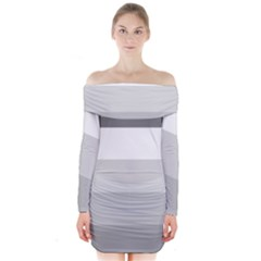 Elegant Shades Of Gray Stripes Pattern Striped Long Sleeve Off Shoulder Dress
