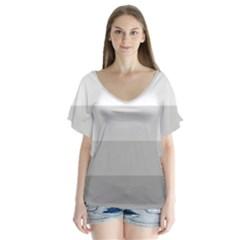 Elegant Shades Of Gray Stripes Pattern Striped V Neck Flutter Sleeve Top