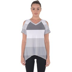 Elegant Shades Of Gray Stripes Pattern Striped Cut Out Side Drop Tee