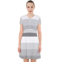 Elegant Shades Of Gray Stripes Pattern Striped Adorable In Chiffon Dress