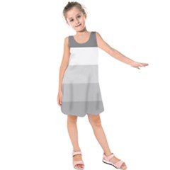 Elegant Shades Of Gray Stripes Pattern Striped Kids  Sleeveless Dress