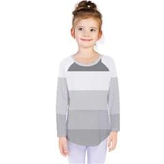 Elegant Shades Of Gray Stripes Pattern Striped Kids  Long Sleeve Tee