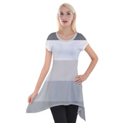 Elegant Shades Of Gray Stripes Pattern Striped Short Sleeve Side Drop Tunic