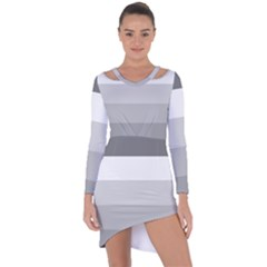 Elegant Shades Of Gray Stripes Pattern Striped Asymmetric Cut Out Shift Dress