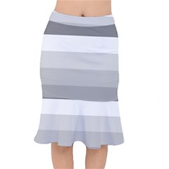 Elegant Shades Of Gray Stripes Pattern Striped Mermaid Skirt