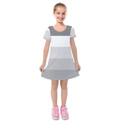 Elegant Shades Of Gray Stripes Pattern Striped Kids  Short Sleeve Velvet Dress