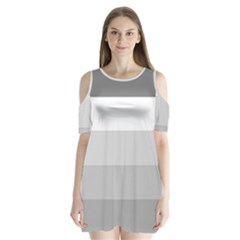 Elegant Shades Of Gray Stripes Pattern Striped Shoulder Cutout Velvet One Piece