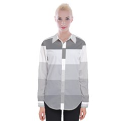 Elegant Shades Of Gray Stripes Pattern Striped Womens Long Sleeve Shirt