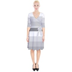 Elegant Shades Of Gray Stripes Pattern Striped Wrap Up Cocktail Dress