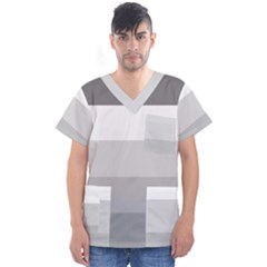 Elegant Shades Of Gray Stripes Pattern Striped Men s V Neck Scrub Top