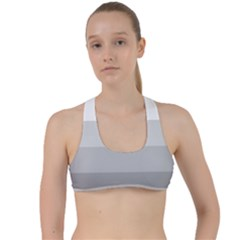 Elegant Shades Of Gray Stripes Pattern Striped Criss Cross Racerback Sports Bra