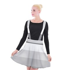 Elegant Shades Of Gray Stripes Pattern Striped Suspender Skater Skirt