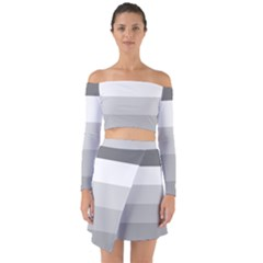 Elegant Shades Of Gray Stripes Pattern Striped Off Shoulder Top With Skirt Set