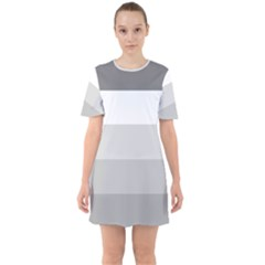 Elegant Shades Of Gray Stripes Pattern Striped Sixties Short Sleeve Mini Dress