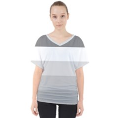 Elegant Shades Of Gray Stripes Pattern Striped V Neck Dolman Drape Top