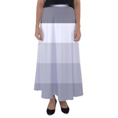 Elegant Shades Of Gray Stripes Pattern Striped Flared Maxi Skirt