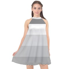 Elegant Shades Of Gray Stripes Pattern Striped Halter Neckline Chiffon Dress