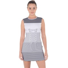 Elegant Shades Of Gray Stripes Pattern Striped Lace Up Front Bodycon Dress