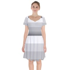 Elegant Shades Of Gray Stripes Pattern Striped Short Sleeve Bardot Dress