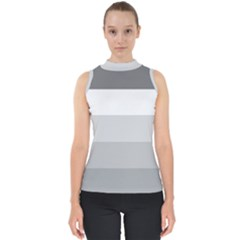 Elegant Shades Of Gray Stripes Pattern Striped Shell Top