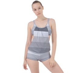 Elegant Shades Of Gray Stripes Pattern Striped Boyleg Tankini Set