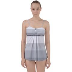 Elegant Shades Of Gray Stripes Pattern Striped Babydoll Tankini Set