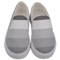 Elegant Shades Of Gray Stripes Pattern Striped Men s Canvas Slip Ons