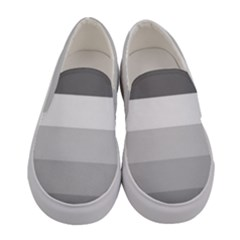 Elegant Shades Of Gray Stripes Pattern Striped Women s Canvas Slip Ons