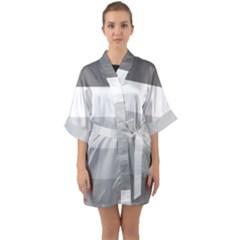 Elegant Shades Of Gray Stripes Pattern Striped Quarter Sleeve Kimono Robe