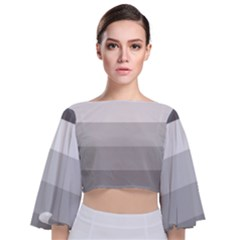 Elegant Shades Of Gray Stripes Pattern Striped Tie Back Butterfly Sleeve Chiffon Top