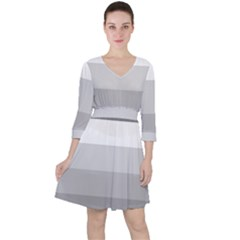 Elegant Shades Of Gray Stripes Pattern Striped Ruffle Dress
