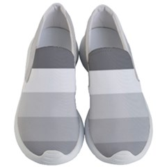 Elegant Shades Of Gray Stripes Pattern Striped Women s Lightweight Slip Ons
