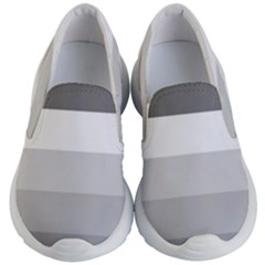 Elegant Shades Of Gray Stripes Pattern Striped Kid s Lightweight Slip Ons