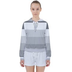 Elegant Shades Of Gray Stripes Pattern Striped Women s Tie Up Sweat