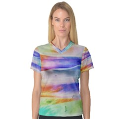 Background Color Splash V Neck Sport Mesh Tee